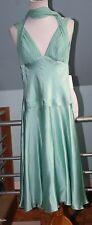 NEW 20s Gatsby Art Deco Silk Dress Dina Bar-El Sea Foam Green Size Backless - S