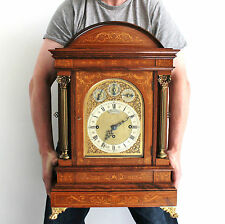 German LENZKIRCH Style Mantel Clock Antique 2 Melodies 9 Gong TRIPLE FUSEE Inlay