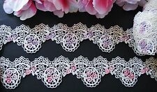 Good quality=2colors=purple/pink flower Venise Lace Trim  = selling by the yard