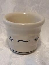 Longaberger Pottery Toothpick Holder Votive Candle Holder Blue Cream Made Usa