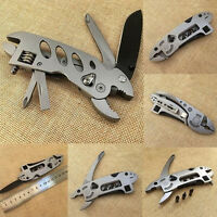 Survival Stainless Steel Folding Jaw Screwdriver Plier Knife Wrench Multi Tool T