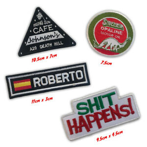 Bikers Badges Cafe Johnson's, Sh!t Happens bike Iron/Sew on Embroidered Patch