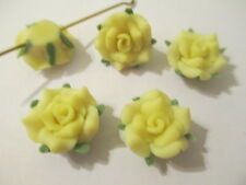 40 Yellow  16 mm Fimo Clay Pretty  Flower Beads    M9