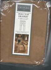 Croscill Tanner Cocoa Brown Tan Faux Suede Pole Top Drapes Southwestern New