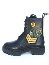 Zara Cuero Negro Militar Parche Botines Talla UK 5 7 Ref.5158/101