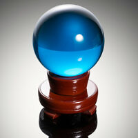 Light Blue Crystal Ball K9 80mm Photography Lens Sphere Ball Decor Wood Stand