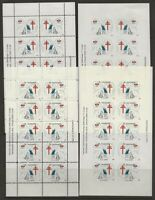 Denmark DJF 1971 Kid and Dog Xmas TB Seal Sheets 4 diff. Perf /Imperf VF-NH