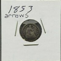1853 Liberty Seated Half Dime Silver Coin Choice Circulated With Arrows Variety