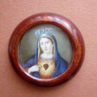 Piccolo Portafoto da tavolo Antico Sacro Cuore di Maria in cornice 7,0 cm (154)