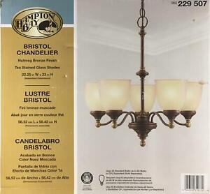 Hampton Bay 5-Light Bronze Chandelier Tea-Stained Glass Transitional Brown NEW