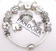 Authentic Pandora Silver Bangle Charm Bracelet With Graduation European Charms.