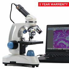Swift 40x 1000x Student Compound Microscope Metal Frame Dual Light With Usb Camera