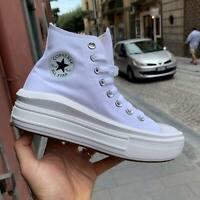 Converse All Star Platform white Move suola alta zeppa 4 cm sneakers 2020 Tela