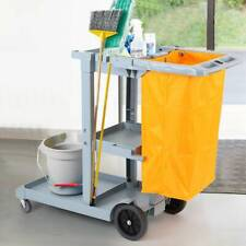 More details for janitorial cleaning trolley school hotel office housekeeping cleaner cart w/ bag