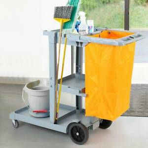 Janitorial Cleaning Trolley School Hotel Office Housekeeping Cleaner Cart w/ Bag