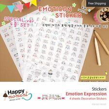 Emotion Expression Stickers Diary Scrapbook Deco Calendar Label Crafts 4 sheets
