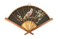 Vintage Mid Century Hand Painted Asian Fan Wall Hanging Wood and Cloth Feng Shue