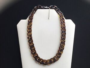 Women's Short Dark Amber And Brown Animal Print Chain Link Necklace
