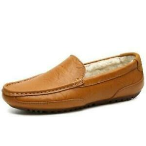 Winter Mens Faux Leather Driving Moccasins Shoes Fur Inside Warm Loafers Flats