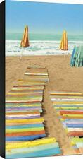 Double Wak Beach Umbrellas Seascape  Ready To Hang Fine Art Canvas 18x36