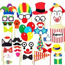 UK 36x Photo Booth Party Props Funny Circus Clown Kids Adult Party Selfie Decor