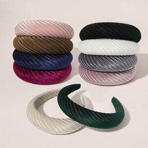 Women Solid Color Padded Wide Hair Hoop Wrinkled Striped Velvet Sponge Headband