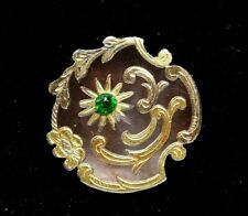 New listing Antique Button Smokey Abalone Shell w Gold & Emerald Paste Nice! D2