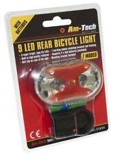 Am-Tech 9 LED REAR Bicycle Light Cycling Bike Safety Safe Cycle Hi-vis UK