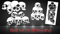Airbrush Schablonen 4er SET Totenköpfe Schädelhaufen - Pile of Skulls Stencil