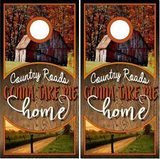 Rustic Wood Country Roads Cornhole Wrap Bag Toss Skin Decal Sticker