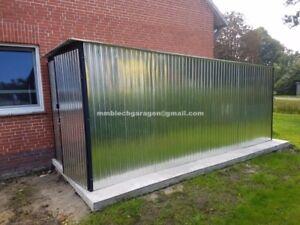 Blechgarage 2,6x4,5 Fertiggarage Verzinkt Garage Stahlhalle Schuppe NEU! P:2373