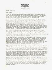 1989 signed 2 page letter by FRANK COGHLAN JR - Captain Marvel serial actor.