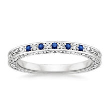 0.26 Ct Natural Diamond Blue Sapphire Engagement Band White Gold Finish Size M N