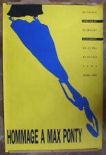 grande affiche ancienne hommage à Max Ponty 1991 jaune Graficaza 172,4 x115,4 cm