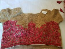 Red and gold Fully embroidered net fabric saree blouse /choli