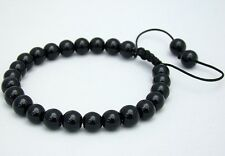 Men's Shamballa bracelet  all 8mm BLACK GLASS beads no metal