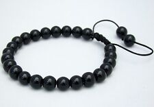 Para Hombre Shamballa Pulsera todos 8mm Negro Perlas De Vidrio No Metal