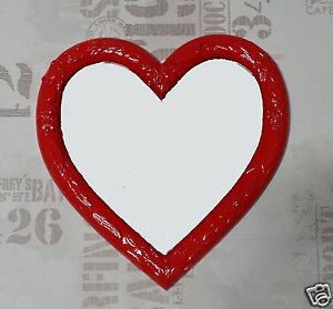 Wall Mirror Heart Shape Baroque Red Love Gift New 1