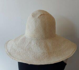 SARAH J CURTIS Panama straw wide brim hat