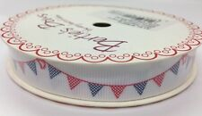 5m Bertie's Bows Red & Navy Polka Dot Bunting on 16mm White Grosgrain Ribbon