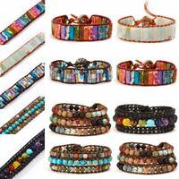 7 Chakra Vintage Natural Lava Stone Healing Beaded Bracelet Bangle Yoga Holiday