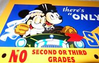 "VINTAGE ""SUNOCO"" BLUE MICKEY MOUSE & MINNIE DRIVING! 12"" METAL GASOLINE OIL SIGN"