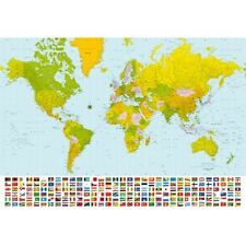 Map of the World with Flags - Huge Wall Mural (254x366cm) 8 Part Mural