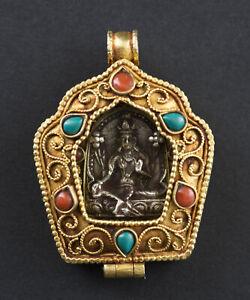 Tara Ghau a Sospensione Bodhisattva Amuleto Tibetano Filigrana Nepal 26504