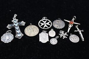 12 x .925 Sterling Silver PENDANTS inc. Gemstone, Marcasite, Religious (28g)