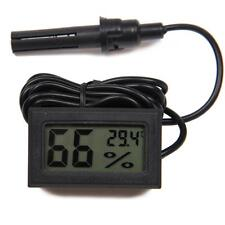 Digital Meter With Wire Lcd Temperature Humidity Hygrometer Vivarium Reptile BLK