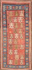 Pre-1900 Antique Tribal Vegetable Dye Kazak Caucasian Russian Runner Rug 3'x7'
