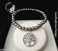 Beautiful Silver Pearl Bead Tree Of Life Bracelet Bangle 15cm -20cm