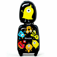 Kids Carry On Luggage Set 12'' Backpack & 16'' Rolling Trolley Suitcase Monster