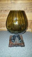 Vintage Mid Century Gothic Olive Green Glass Vase with Metal and Wood Base